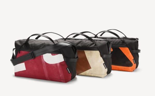 廃棄ペットボトルとトラックの幌からできたスポーツバッグ「FREITAG」