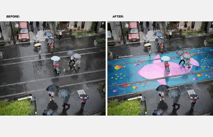 雨で浮かび上がるアート