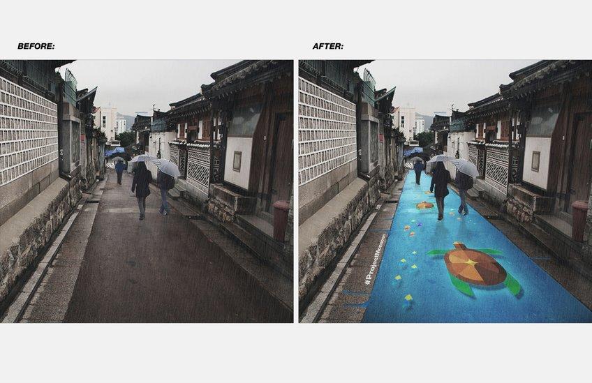 雨で浮かび上がるアートProject Monsoon