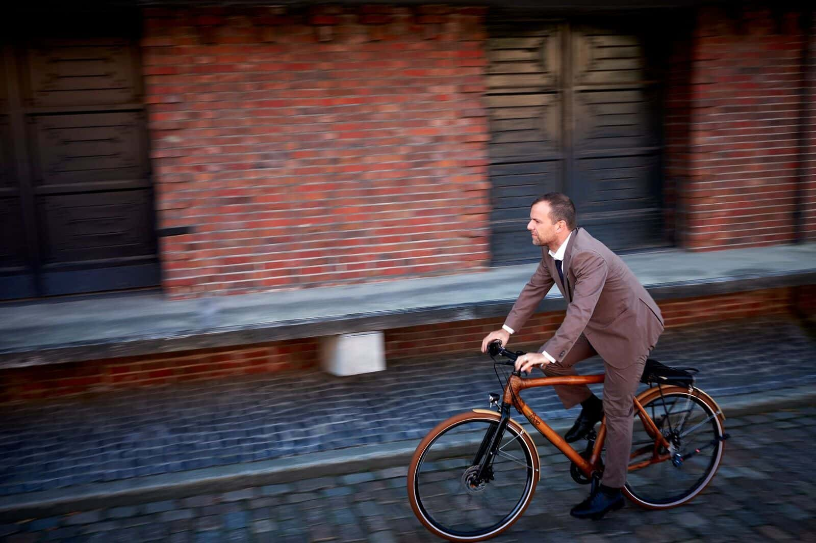 竹で出来た自転車
