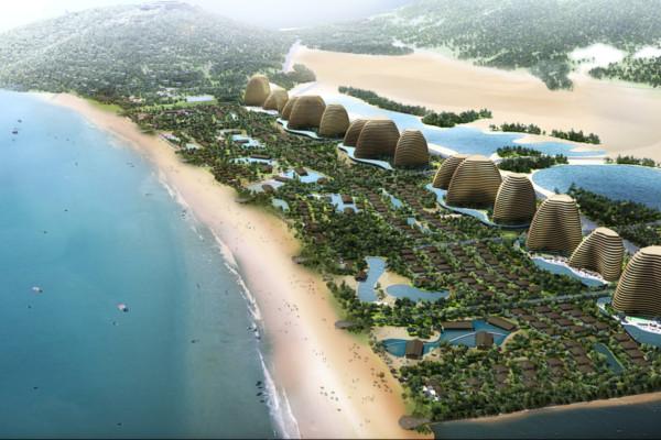 ベトナムのエコリゾートの海岸沿い