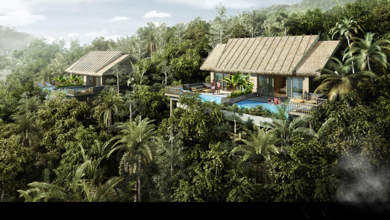 ベトナムの森の中にあるエコリゾートの宿泊地