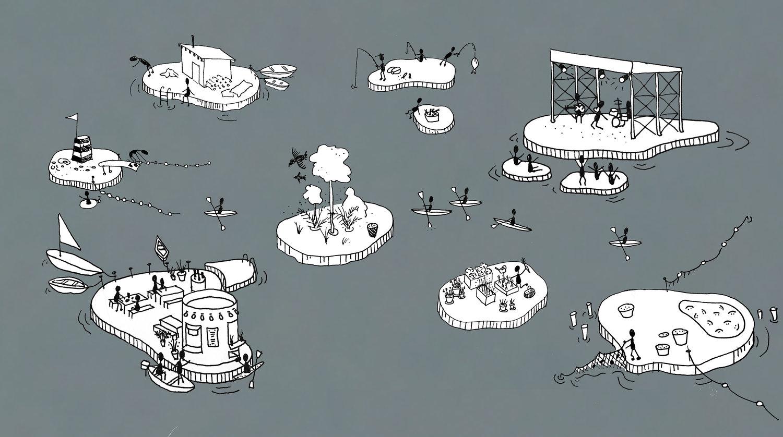 点々と浮かぶ島の図