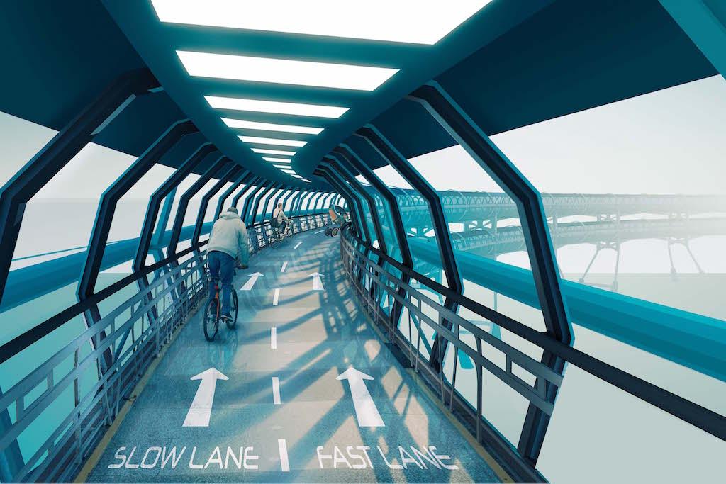 スピード別で二つに分かれている自転車レーン