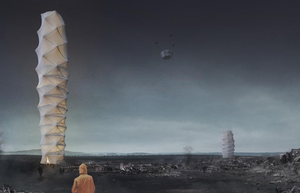 自然災害のシェルターは、折り紙のように畳めるポータブル高層ビル