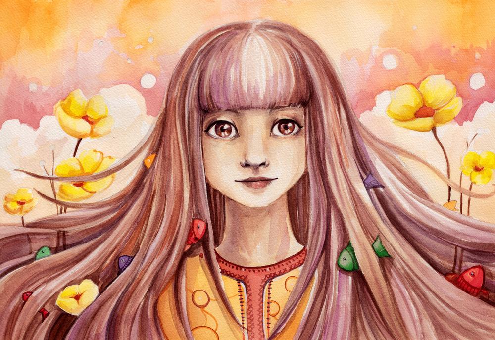 奇抜な髪の色の少女