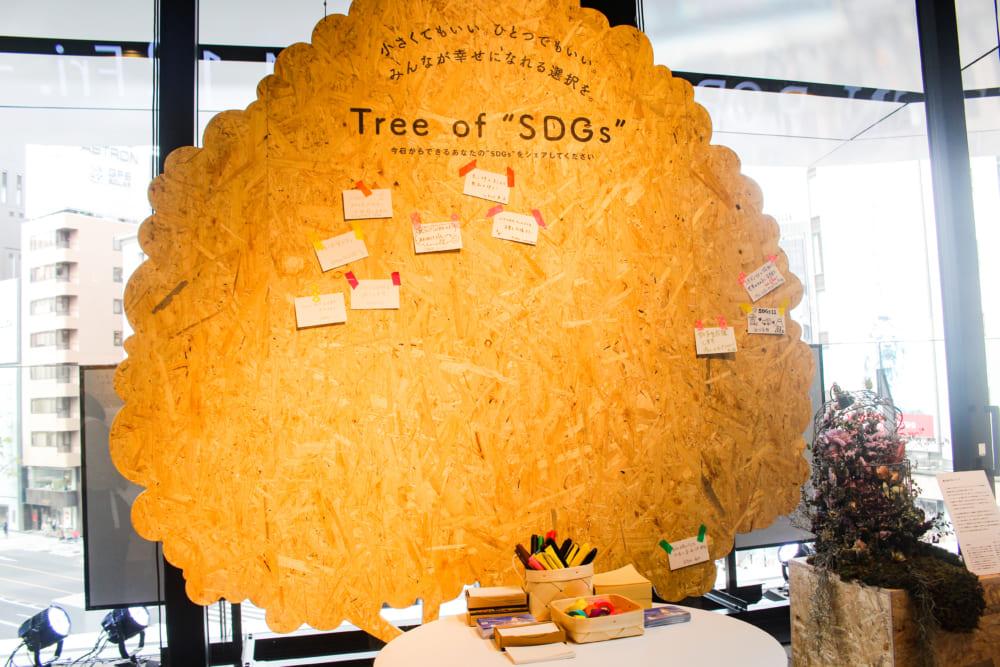 来場者が「今日からできる小さな行動」を書き込んだメモを貼っていく「Tree of SDGs」