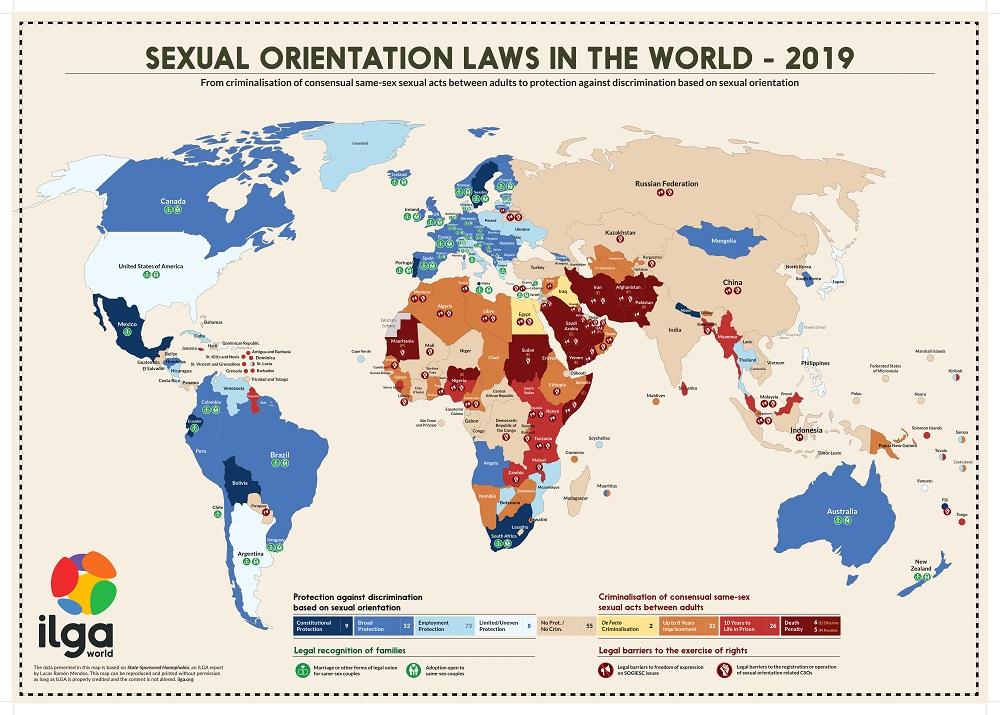 ジェンダーの多様性に関するマップ( ILGAより)