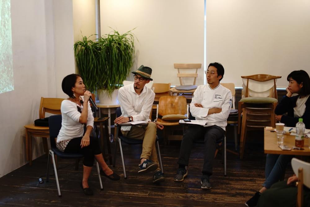 左から武田真由子さん、武末克久さん、サステナブルフードディレクターの松山喬洋さん