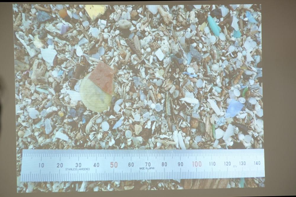 劣化し、微細破片になった海岸のプラスチック