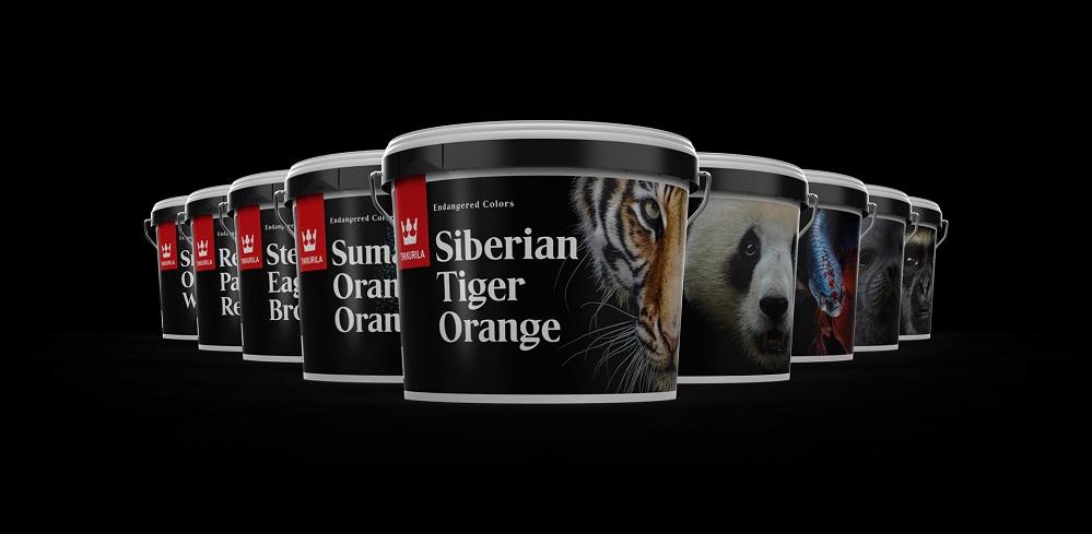 絶滅危惧種の動物の色を表した塗料