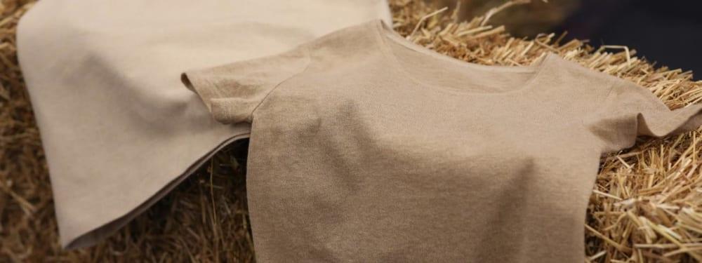 麦わらでつくった繊維