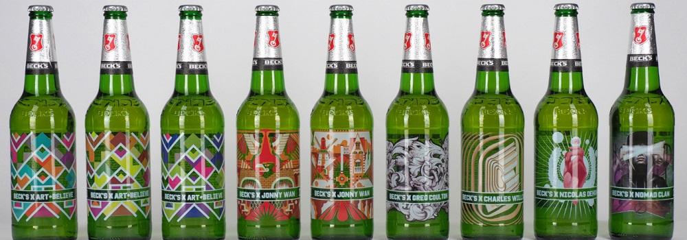 ラベルを瓶に直接描いたビール