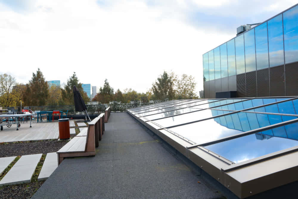 屋上に設置された太陽光発電