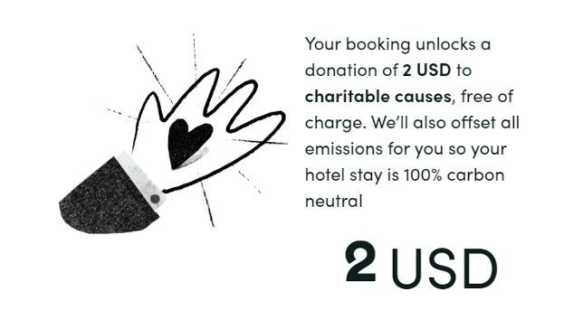 宿泊費から自動的にNPOに送られる、2米ドルの寄付についての表示。
