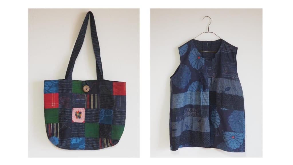 パッチワークのバッグと洋服