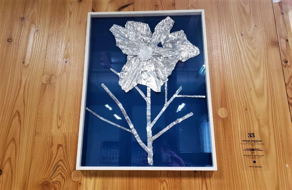 空調ダクトのアルミから作ったアート作品
