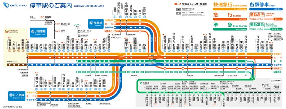 小田急路線図(提供:小田急電鉄)