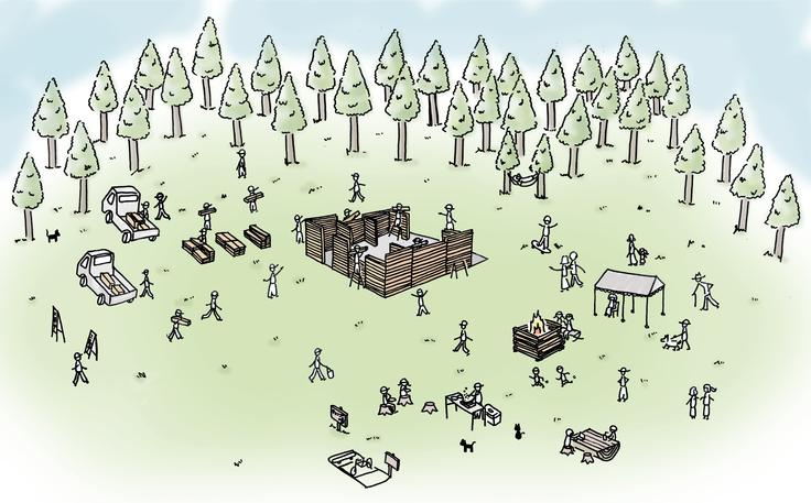 仮設住宅バンガローの完成イメージ