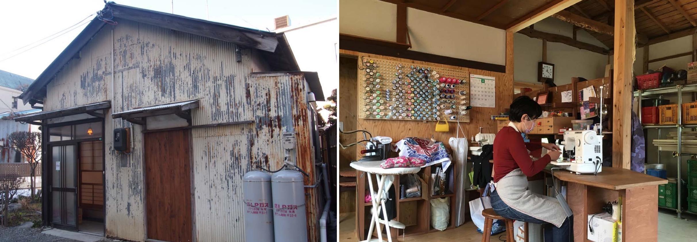 (左)巻組のリノベーション物件外観(右)物件に入居し洋裁を行う女性